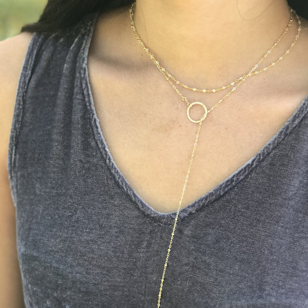 Gold Bead Chain Lariat Necklace with Bar Drop