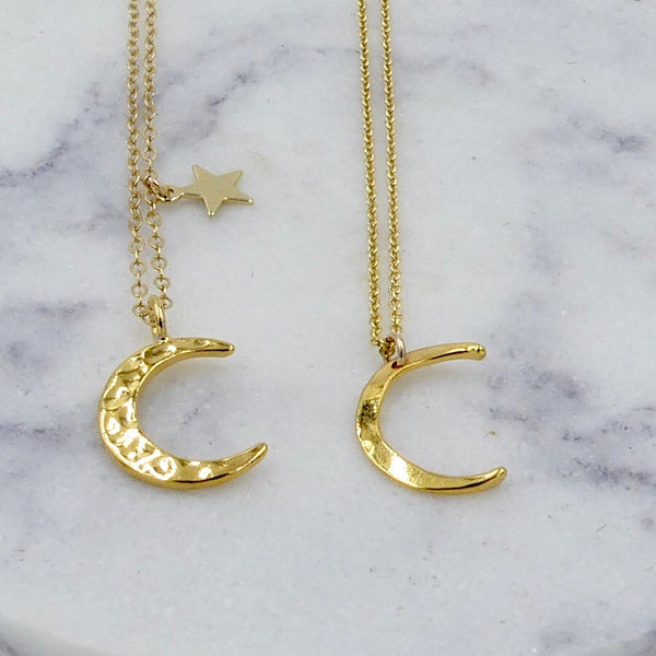 Gold or Silver Hammered Moon and Star Necklace - im keepsakes