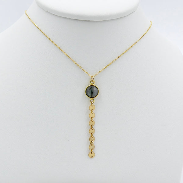 Y Necklace with Gemstone/Disc Chain Drop - im keepsakes