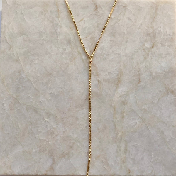 Minimalist Gold Bar and Link Chain Y Necklace