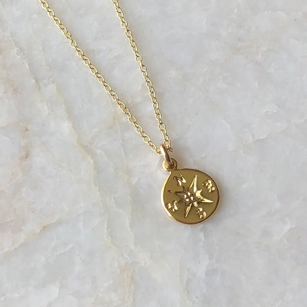 Tiny Golden Compass Necklace