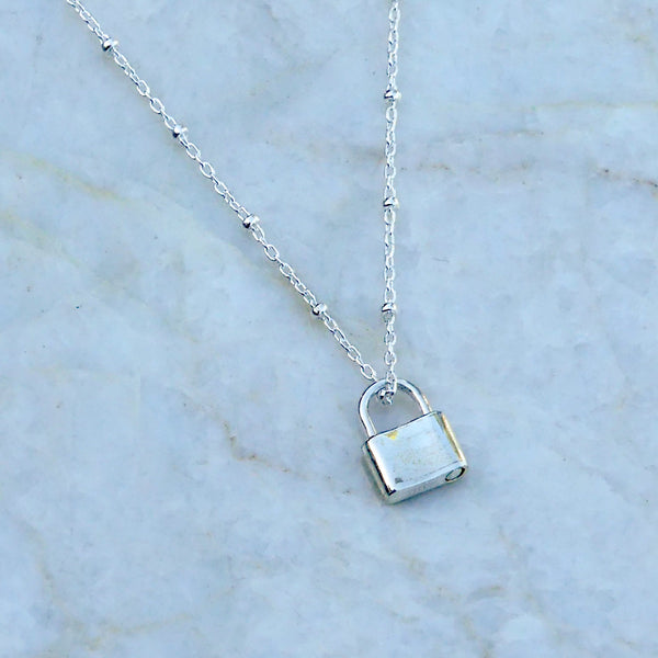 Padlock Necklace | Sterling Silver