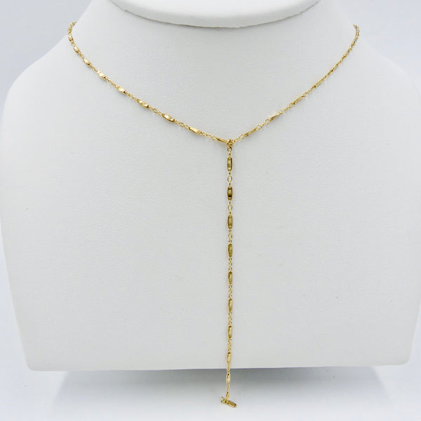 14k Gold Fill Bar and Link Chain Y Necklace - im keepsakes