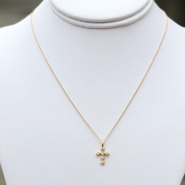 Tiny Gold Cross Necklace with CZ's - im keepsakes