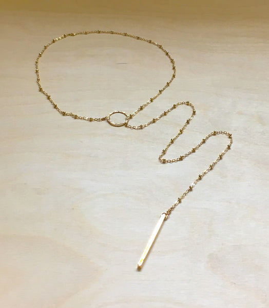 Gold Bead Chain Lariat Necklace with Bar Drop - im keepsakes