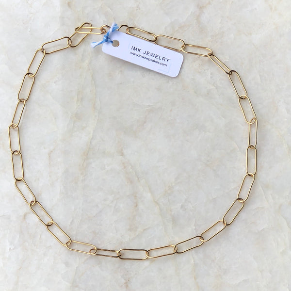 Paperclip Chain Gold Choker Necklace - im keepsakes