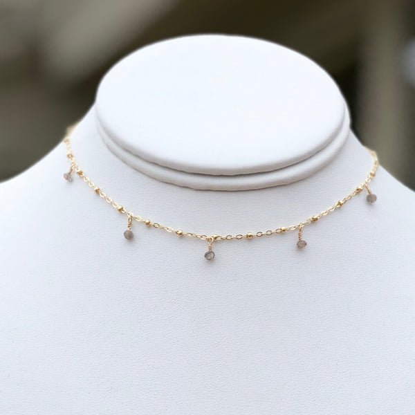 Gold Choker with Baby Gem Dangles - im keepsakes