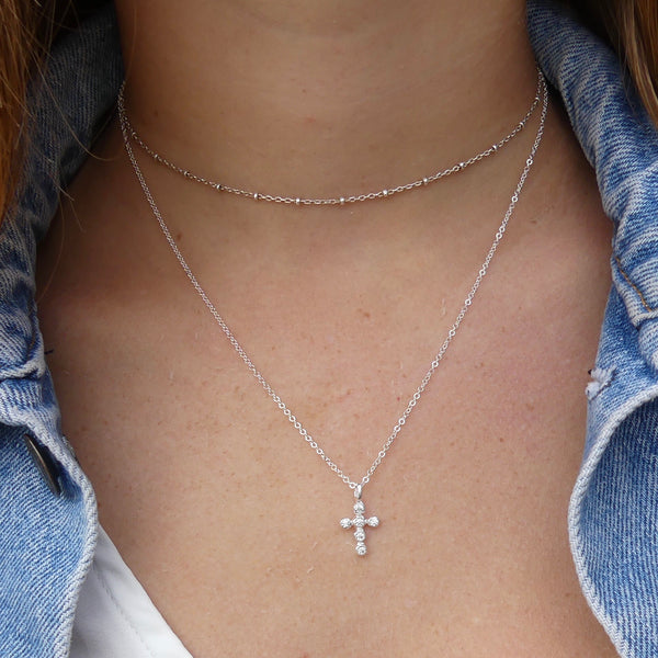 Crystal Cross Necklace | Gold or Silver