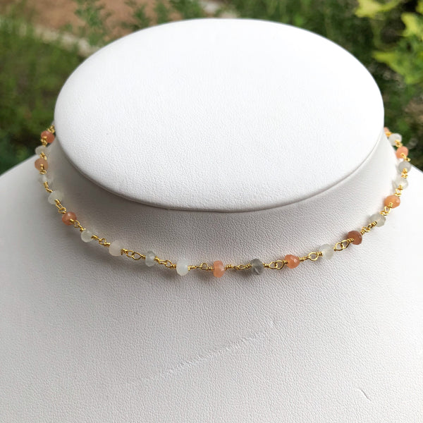 Multi-Moonstone Choker Necklace - im keepsakes