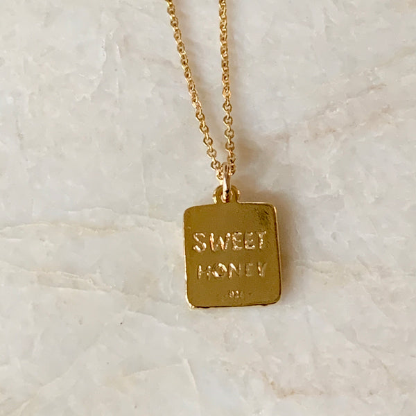Gold or Silver Honey Bee Tag Necklace  |  IMK Jewelry