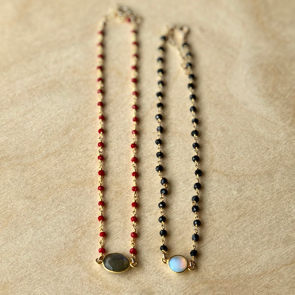 Black or Coral Beaded Chokers with Gemstone Focal
