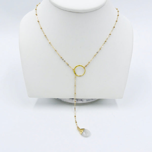 Gold Lariat Necklace with Rainbow Moonstone Drop - im keepsakes