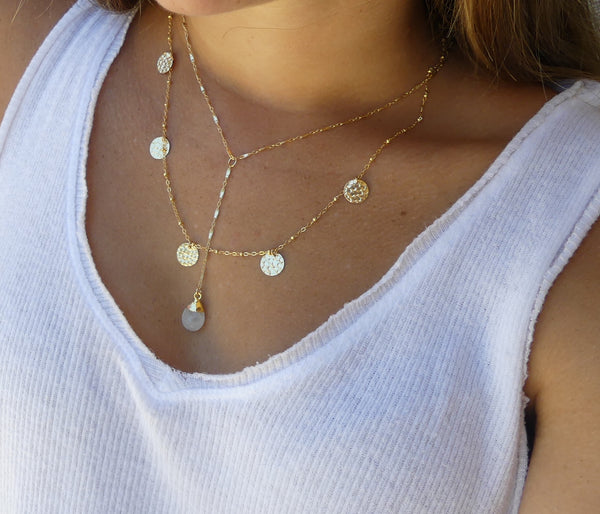 Hammered Gold Discs Necklace