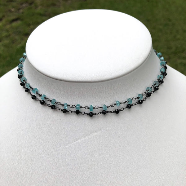 Gemstone Choker Necklaces in Gunmetal Black - im keepsakes