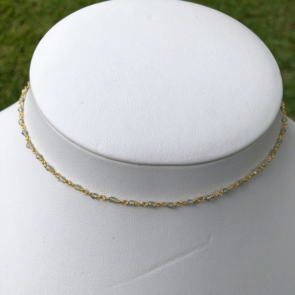 Tiny Gemstone Choker Necklaces in Gold Vermeil or Sterling Silver - im keepsakes