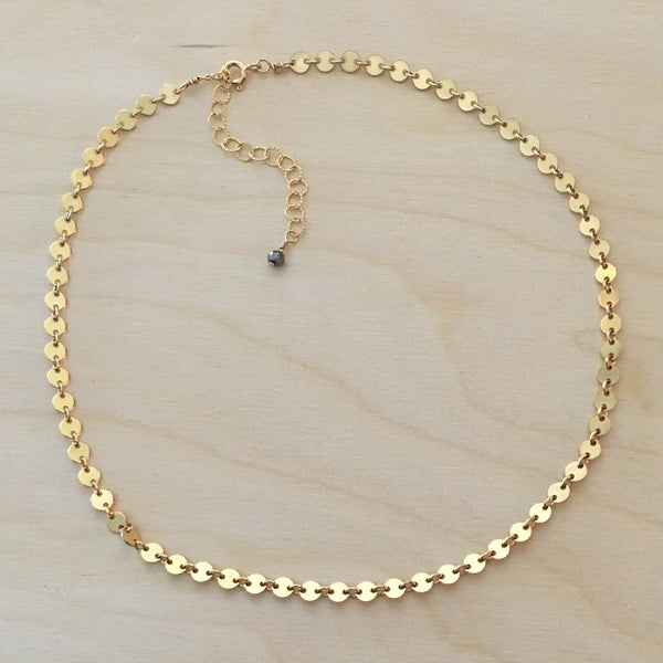 Gold Disc Chain Choker Necklace