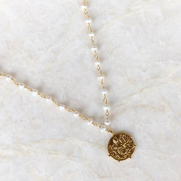 Pearl Choker with Gold Coin Necklace |  IMK Jewelry - im keepsakes