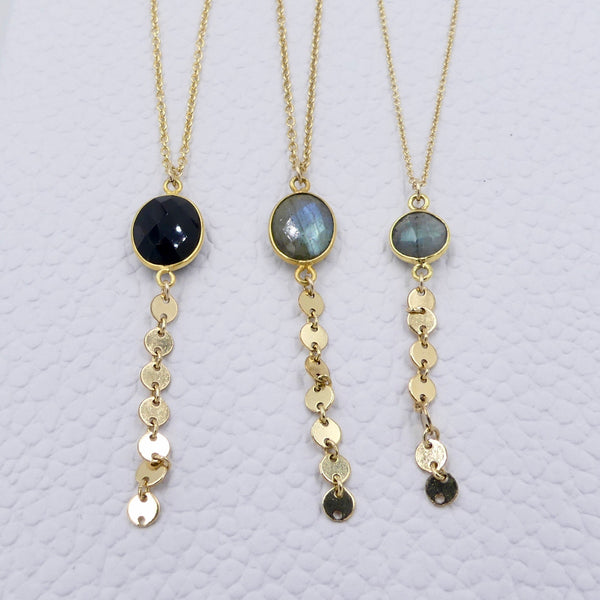Y Necklace with Gemstone/Disc Chain Drop