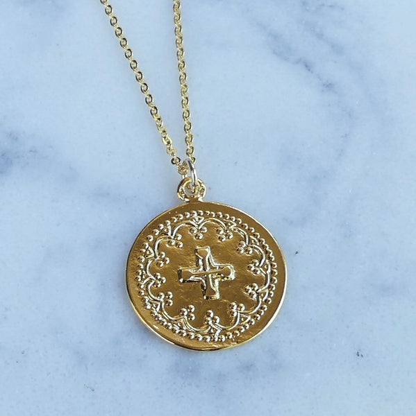 Catholic Cross Medallion Necklace - im keepsakes