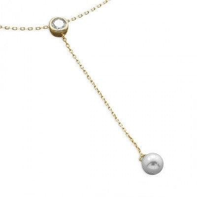14k Gold Plated Pearl and CZ Necklace - im keepsakes