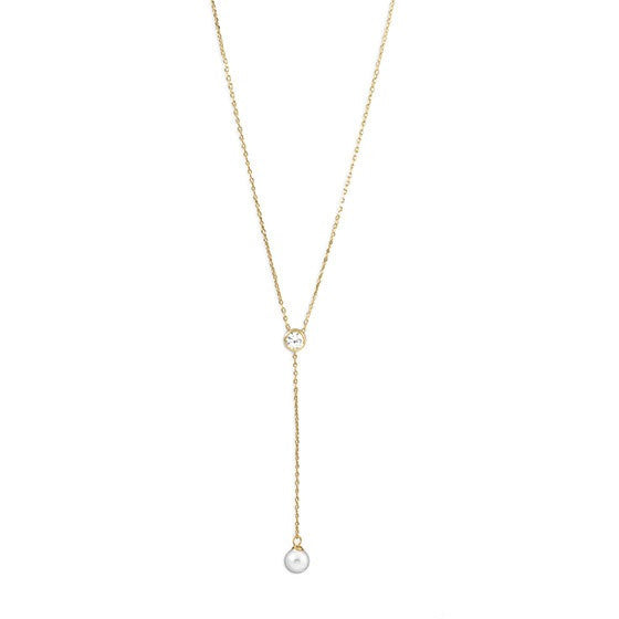 14k Gold Vermeil Pearl and CZ Y Necklace - im keepsakes