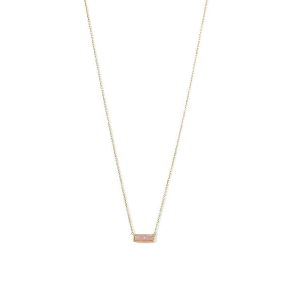 Gold Pink Opal Mini Bar Necklace - im keepsakes