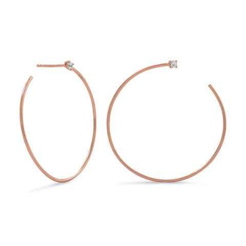 Rose Gold Hoop Earrings with CZ