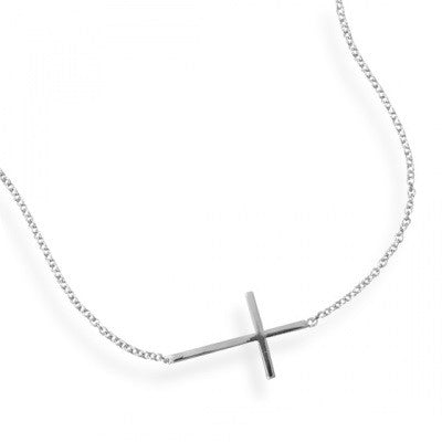 Sterling Silver Sideways Cross Necklace - im keepsakes