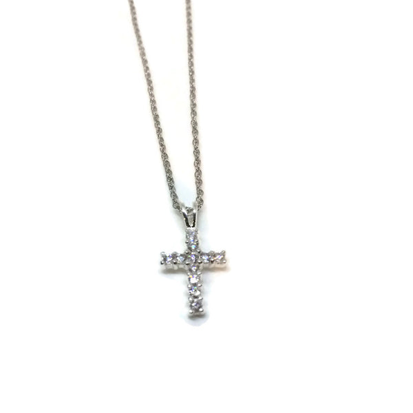 Tiny CZ Cross Necklace wtih FREE Earrings - im keepsakes