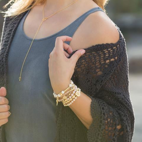 Gold Triangle and Circle Lariat Necklace - im keepsakes