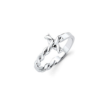 Sterling Silver Sideways Twisted Cross Ring - im keepsakes