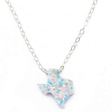 White Texas Opal Necklace |  Gold or Silver