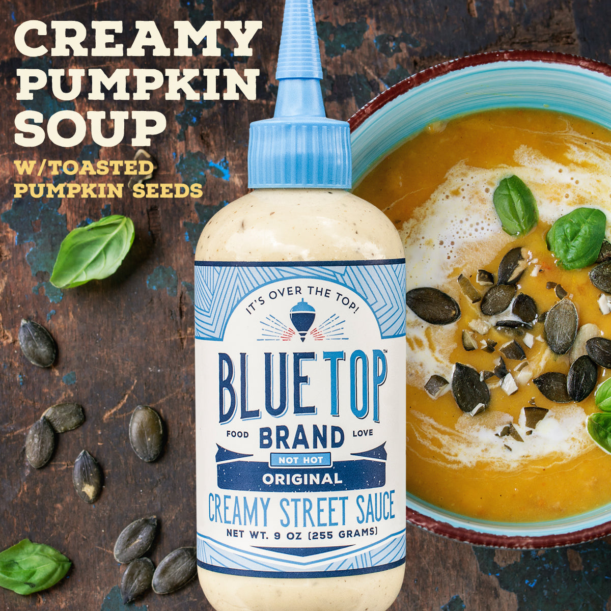 Creamy Blue Top Pumpkin Soup