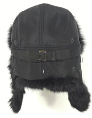 Rabbit Fur Original Trapper Hat Black Photo - Royal Fur