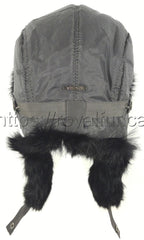 Rabbit Fur Hat Trapper Black & Brown Photo - Royal Fur