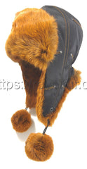 Rabbit Fur Hat Urban L-3 Brown Photo - Royal Fur