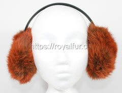Authentic Rabbit Fur Earmuffs Red Photo by Royal Fur