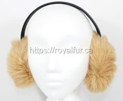 Authentic Rabbit Fur Earmuffs Beige - Photo by Royal Fur
