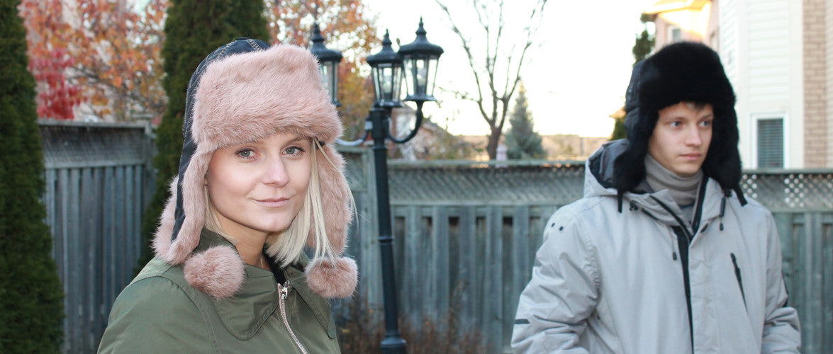 Couple friends wearing Fur Hats - Photo by Royal Fur