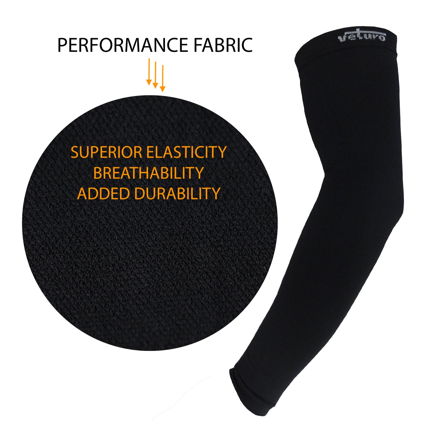 Graduated Compression Arm Sleeves Support and Recovery - Gloves for Therapy by Veturo