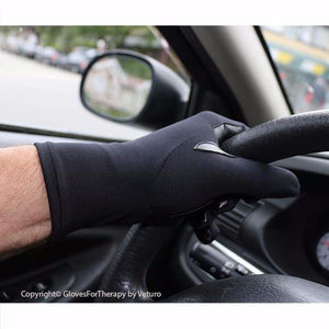 Infrared Gloves Supple Leather Grip Patches Black - Gloves for Therapy by Veturo