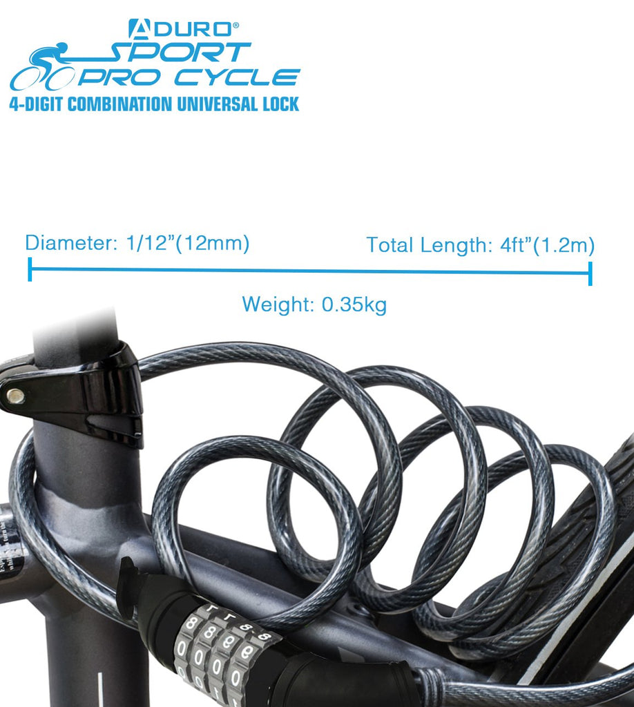 Aduro Sport 4-Digit Combination 4 Foot Bike Lock