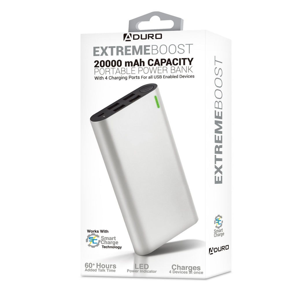 Aduro Extreme Boost 20,000 mAh Backup Battery w/ 4 USB Ports