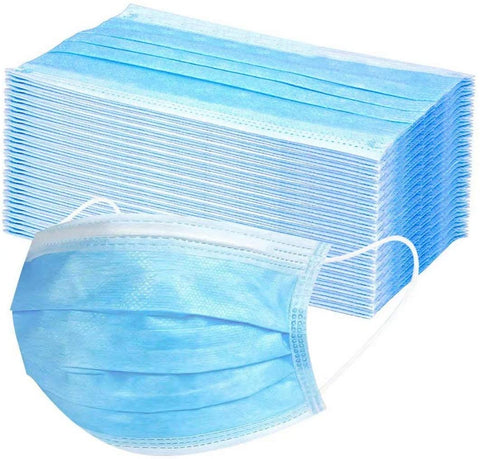 Disposable Non-Medical 3-Ply Earloop Face Masks - 50 Pack