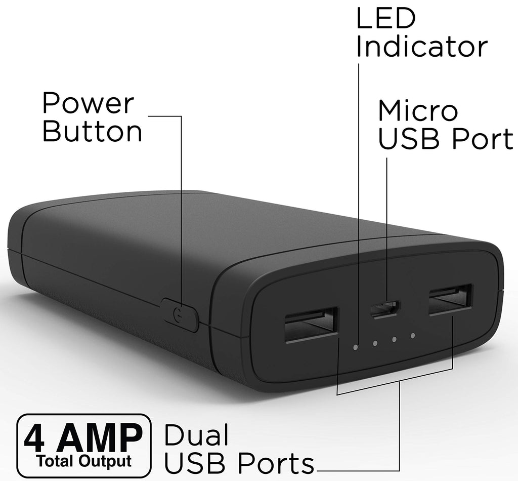 Aduro Power Bank 10,000mAh Battery Pack with Dual USB LED Indicator