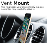 U-Grip Mobile Phone Ring Holder, 3 in 1 Universal Phone Ring Stand, Car Vent Mount, & Holder