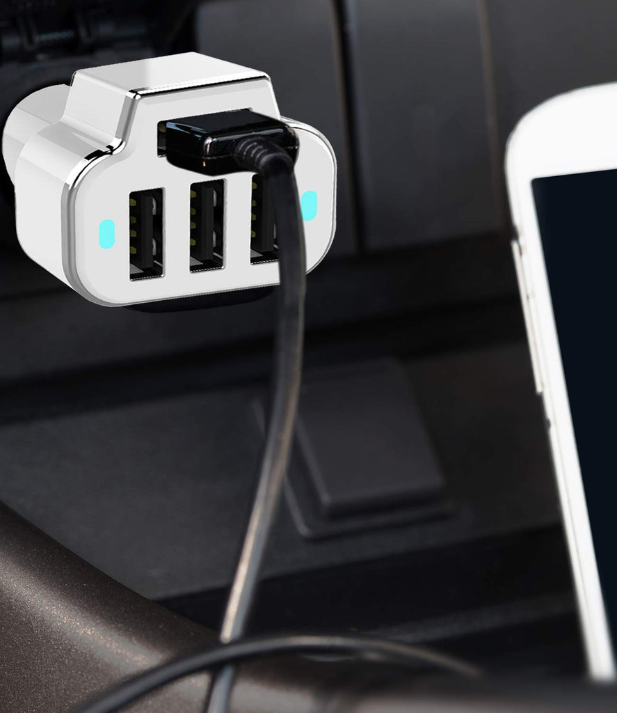 PowerUp 4 USB Port Car Charger Adapter for iPhone Samsung and More