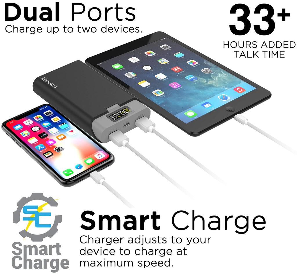 PowerUp Dual USB LED Screen 13,000mAh Portable Phone External Battery Charger