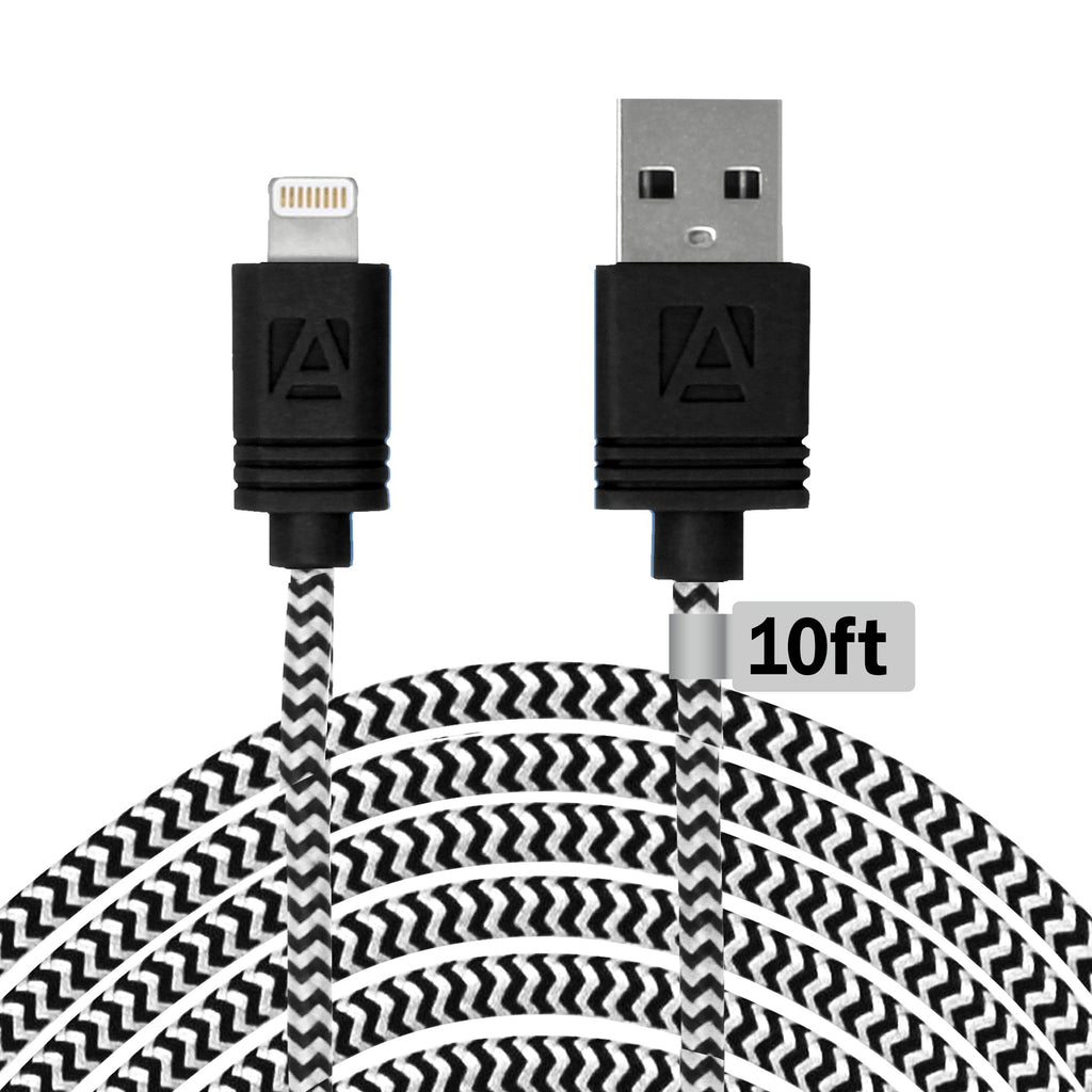 Aduro 10 Ft MFI Lightning Fiber Cloth Charge & Sync Cable