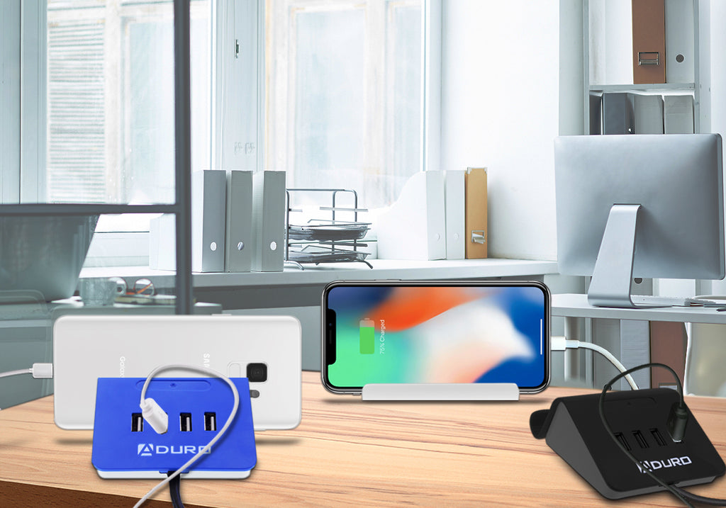 Aduro PowerUp 4 Port USB Charging Desktop Station & Stand for Multiple Devices